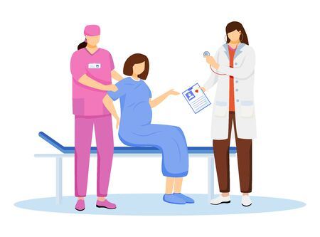Childbirth at hospital flat vector illustration. Reproductive medicine. Pregnant woman with contractions and labor. Obstetrics and gynecology. Obstetrician, nurse with patient cartoon characters Illusztráció