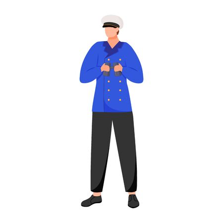 Navigator flat vector illustration. Seafarer on research or passenger fleet. Captain in work uniform. Sailor with binoculars isolated cartoon character on white background