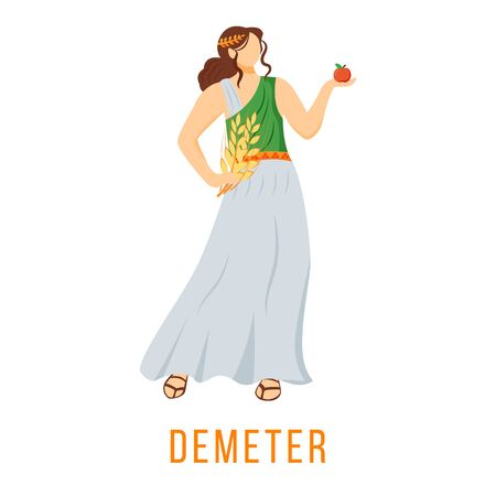 Demeter flat vector illustration. Ancient Greek deity. Goddess of agriculture, harvest and fertility. Mythology. Divine mythological figure. Isolated cartoon character on white background