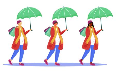 Pregnant women flat vector illustrations set. Happy pregnancy time. Awaiting of baby. Young mothers go shopping under umbrellas isolated cartoon characters on white background Illustration