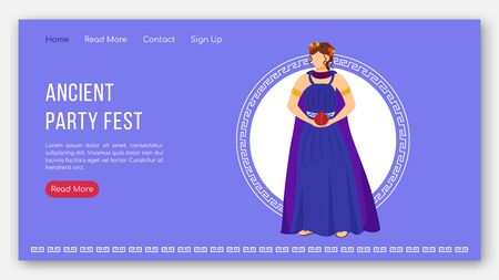 Ancient party fest landing page vector template. Greek myth gods. Persephone mythology website interface idea with flat illustrations. Homepage layout, web banner, webpage cartoon concept