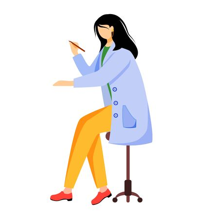 Scientist in blue lab coat flat vector illustration. Creating schemes, models. Designing, drawing and writting. Woman holding pen, pencil isolated cartoon character on white background