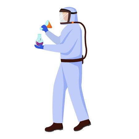 Scientist in protective suit flat vector illustration. Conducting dangerous experiment with laboratory flasks. Man works with chemicals isolated cartoon character on white background Ilustracja
