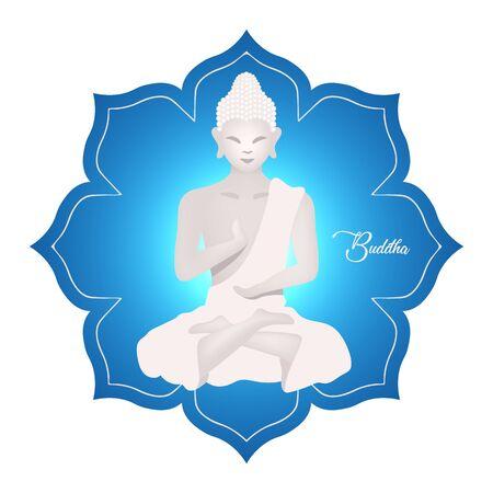 Buddha flat vector illustration. Religious sculpture on lotus. Meditating pose. Indonesian culture. Asian religion. Buddhism