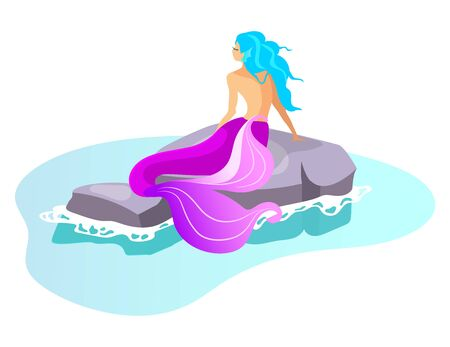 Siren flat vector illustration. Mythological beast swim in sea. Fairy monster on rock. Fantastical half-woman creature. Greek mythology. Mermaid on reef isolated cartoon character on white background