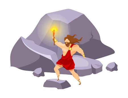 Prometheus flat vector illustration. Divine hero stealing fire. Preolympian titan with beacon on mountain. Traveling and exploring. Man with torch isolated cartoon character on  background
