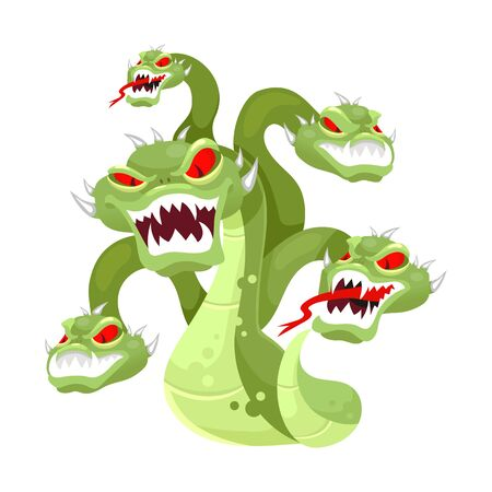 Hydra flat vector illustration. Mythological creature. Multi-head monster. Serpent, venemous snake with many heads. Greek mythology. Fantastical beast isolated cartoon character on white background 矢量图像