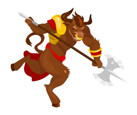 Minotaur flat vector illustration. Mythological creature with battleaxe. Fantastical bull beast with axe. Greek mythology. Monster in fight pose isolated cartoon character on white background Illustration