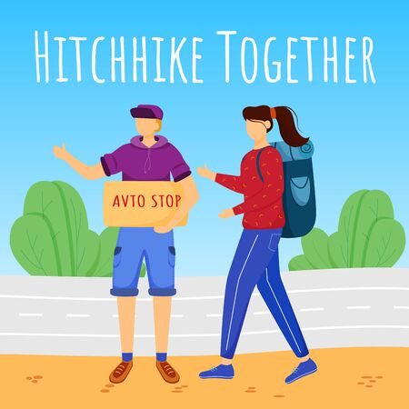 Hitchhike together social media post mockup. Stopping car for travelling. Budget tourism. Advertising banner design template. Social media booster. Promotion poster, print ads with flat illustrations