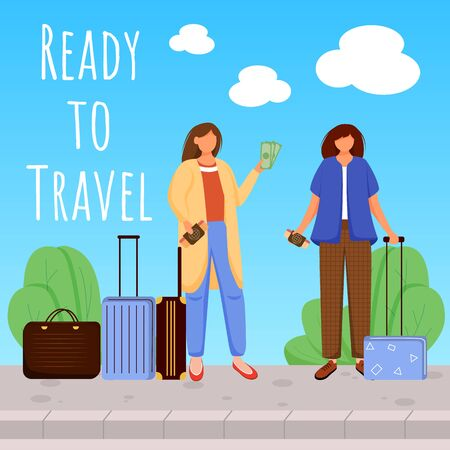 Ready to travel social media post mockup. Girls with luggage. Going on vacation. Advertising web banner design template. Social media booster. Promotion poster, print ads with flat illustrations