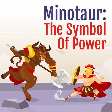 Symbol of power social media post mockup. Minotaur and Theseus. Greek mythological fight. Web banner design template. Social media booster, content layout. Poster with flat illustrations Illustration