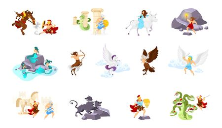 Greek mythology flat vector illustrations set. Minotaur and Theseus. Medusa and Perseus. Abduction of Europa. Cerberus. Trojan war. Beast and fighters. Heroes and creatures isolated cartoon characters