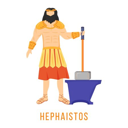 Hephaistos flat vector illustration. Hephaestus. God of fire and metalworking. Ancient Greek deity. Mythology. Divine mythological figure. Isolated cartoon character on white background