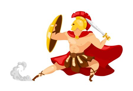 Warrior flat vector illustration. Theseus in armor. Gladiator with shield and sword. Greek mythology. Fighter in action pose. Man in defense stance isolated cartoon character on white background