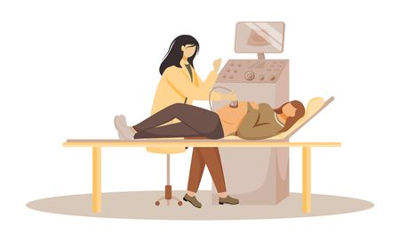 Ultrasound screening of fetus flat vector illustration. Prenatal examination. Pregnancy healthcare. Pregnant woman with doctor in clinic isolated cartoon characters on white background