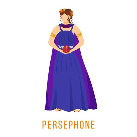 Persephone flat vector illustration. Ancient Greek deity. Mythology. Goddess. Queen of underworld. Divine mythological figure. Isolated cartoon character on white background
