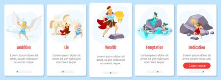 Greek mythology onboarding mobile app screen vector template. Mythological heroes and fighters. Walkthrough website steps with flat characters. UX, UI, GUI smartphone cartoon interface concept