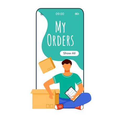 Pantalla de aplicación de vector de teléfono inteligente de dibujos animados de mis pedidos. Servicio de entrega online. Hombre sentado con paquete. Pantallas de teléfonos móviles con maqueta de diseño de personajes planos. Aplicación linda interfaz de teléfono