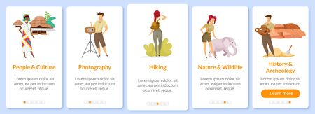 Exploration onboarding mobile app screen vector template. History and culture. Discovery, research. Walkthrough website steps with flat characters. UX, UI, GUI smartphone cartoon interface concept