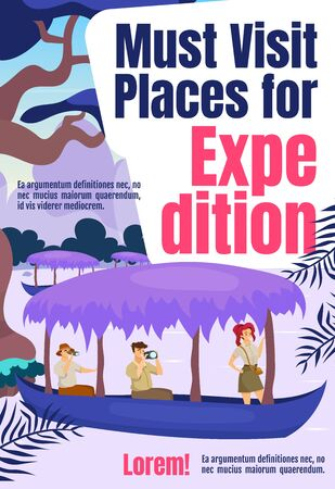 Must visit places for expedition magazine cover template. Journal mockup design. Vector page layout with flat character. Exploration advertising cartoon illustration with text space Çizim