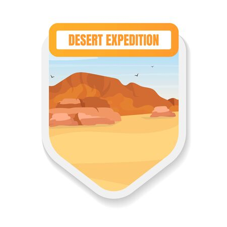 Desert expedition flat color vector badge. Arabic landscape. African dunes exploration. Journey, trip. Egypt wilderness tourism graphic sticker. Expedition isolated cartoon design element