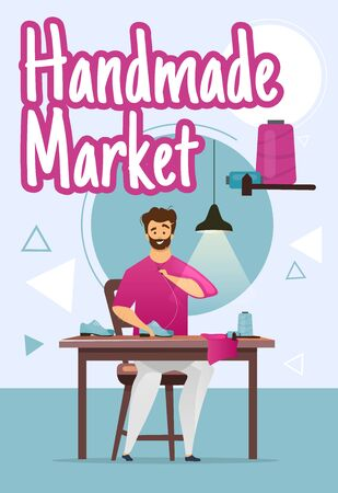 Handmade market poster vector template. Shoemaker. Shoemaking process. Footwear. Brochure, cover, booklet page concept design with flat illustrations. Advertising flyer, leaflet, banner layout idea