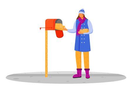 Woman in winter clothes receives post flat color vector illustration. Getting parcel from mailbox. Delivery service. Taking lettters from postbox isolated cartoon character on white background Ilustracje wektorowe