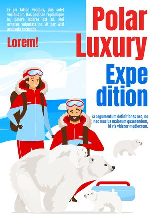 Polar luxury expedition magazine cover template. Trip to Antarctica. Journal mockup design. Vector page layout with flat character. Exploration advertising cartoon illustration with text space