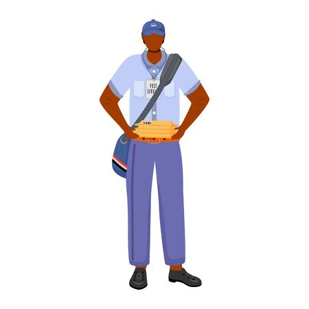 Post office male worker flat color vector illustration. African american man distributes parcels. Post service. Employee in american post uniform isolated cartoon character on white background