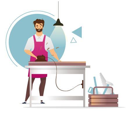 Woodworker flat color vector illustration. Joinery. Carpentry workshop. Furniture manufacturing. Carpenter working with wood planer. Craftsman. Isolated cartoon character on white background