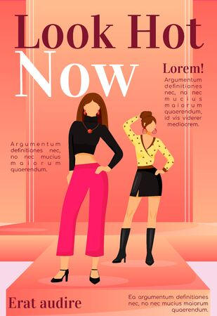 Fashion news magazine cover template. Runway models outfits. Trendy clothes. Journal mockup design. Vector page layout with flat character. Style guide advertising cartoon illustration with text space