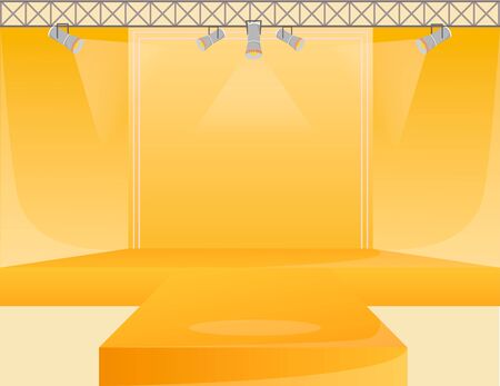 Yellow runway platform flat color vector illustration. Empty podium stage. Catwalk with spotlights. Fashion week demonstration area. Presentation of new collection. Fashion shows background 向量圖像
