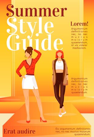 Fashion news magazine cover template. Runway models outfits. Journal mockup design. Vector page layout with flat character. Summer style guide advertising cartoon illustration with text space