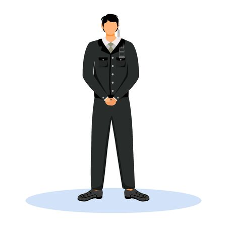 Security guard flat color vector illustration. Hotel staff wearing uniform standing with clenched hands. Bodyguard with radio communication. Bouncer isolated cartoon character on white background
