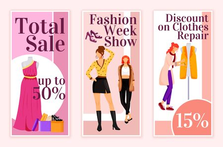 Fashion total sale flyers flat vector templates set. Clothes repair discount printable leaflet design layout. Fashion week show advertising web vertical banner, social media stories