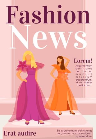 Fashion news magazine cover template. Designer clothes. Journal mockup design. Vector page layout with flat character. Runway models outfits advertising cartoon illustration with text space