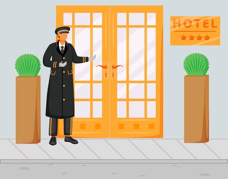 Doorman in uniform flat vector illustration. Doorkeeper in hat and coat standing near entrance. Concierge on street welcoming guests. Hospitality service. Hotel staff cartoon character