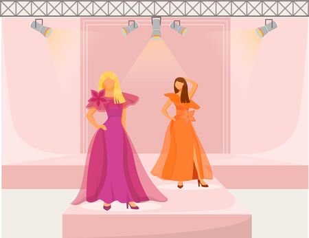 Fashion runway girls flat color vector illustration. Models demonstrate new trends, clothes and accessories. New collection catwalk females isolated cartoon character on pink background