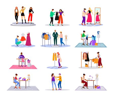 Fashion designer in atelier flat color vector illustrations set. Creating stylish clothes. Runway models outfits. Designing new collection in studio isolated cartoon characters on white background
