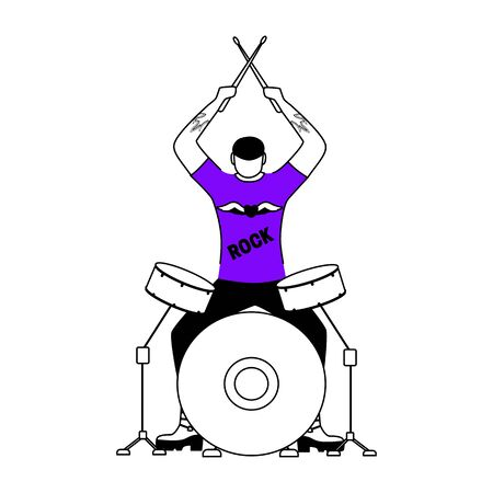 Drummer flat contour vector illustration. Drum player. Musician. Rock band member. Rock and roll. Man with musical instrument. Concert. Isolated cartoon outline character on white. Simple drawing