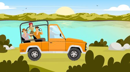 Journey flat vector illustration. People traveling in car through valley. Sunrise on river stream on background. Field landscape. Expedition to Amazonia. Tourist group cartoon characters Ilustrace