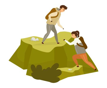 Couple climbing hill flat color vector illustration. Man and woman on mountain peak. Mountaineering on rock. Hikers on expedition. Tourist isolated cartoon character on white background