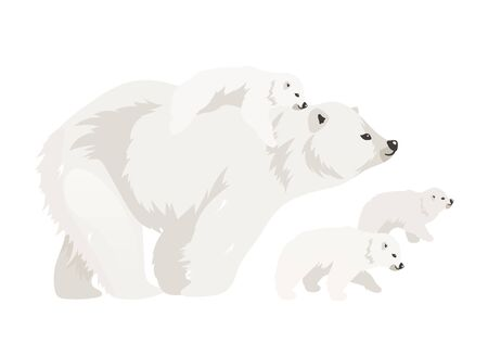 Polar bear family flat color vector illustration. Northern wild adult creature walking cubs. Marine mammal mother with baby. Arctic animal isolated cartoon characters on white background