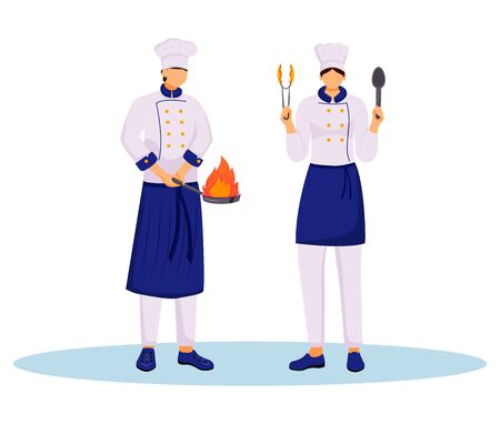 Chefs with cooking utensils flat color vector illustration. Two cooks in uniform holding frying pan and spoon. Kitchen staff. Food service workers isolated cartoon characters on white background
