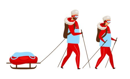 Trekking team flat color vector illustration. Backpackers with sleigh nordic walking. Explorers hiking. Arctic expedition group. Woman and man isolated cartoon character on white background