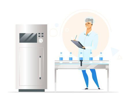 Milk production process flat color vector illustration. Male factory worker. Quality control inspector. Dairy plant employee. Local business. Food industry. Isolated cartoon character on white Vektoros illusztráció
