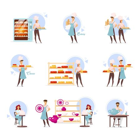 Cheesemaking, bakery and pottery flat vector illustrations set. Cheesemakers and bakers. Food industry. Bake shop. Dairy products. Handmade clayware. Craftsmanship. Isolated cartoon characters