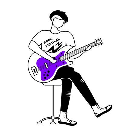Illustration vectorielle de guitariste contour plat. Fête du rock. Guitariste. Musicien. Membre d'un groupe de musique. Rock and roll. Concert, concert. Personnage de contour de dessin animé isolé sur blanc. Dessin simple