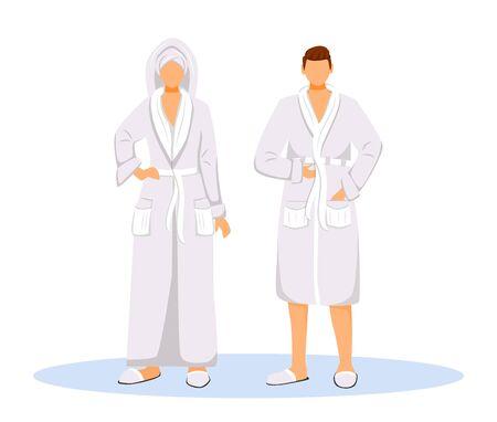 Clients de l'hôtel portant des peignoirs illustration vectorielle de couleur plate. Femme avec une serviette sur la tête et l'homme. Couple en robes. Les gens après la douche ont isolé des personnages de dessins animés sur fond blanc