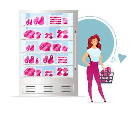 Meat shop showcase flat color vector illustration. Butchers store. Woman with basketful of raw steaks. Supermarket meat department. Food industry. Isolated cartoon character on white background